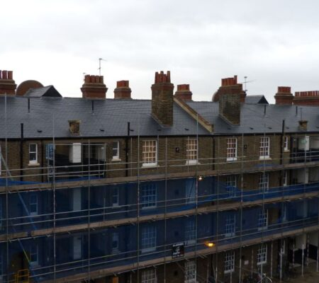 Residential Block Pitched Slate Roofing in East London