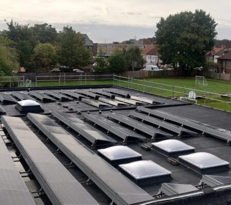 Educational Solar Panels Flat Roofing Project in South London
