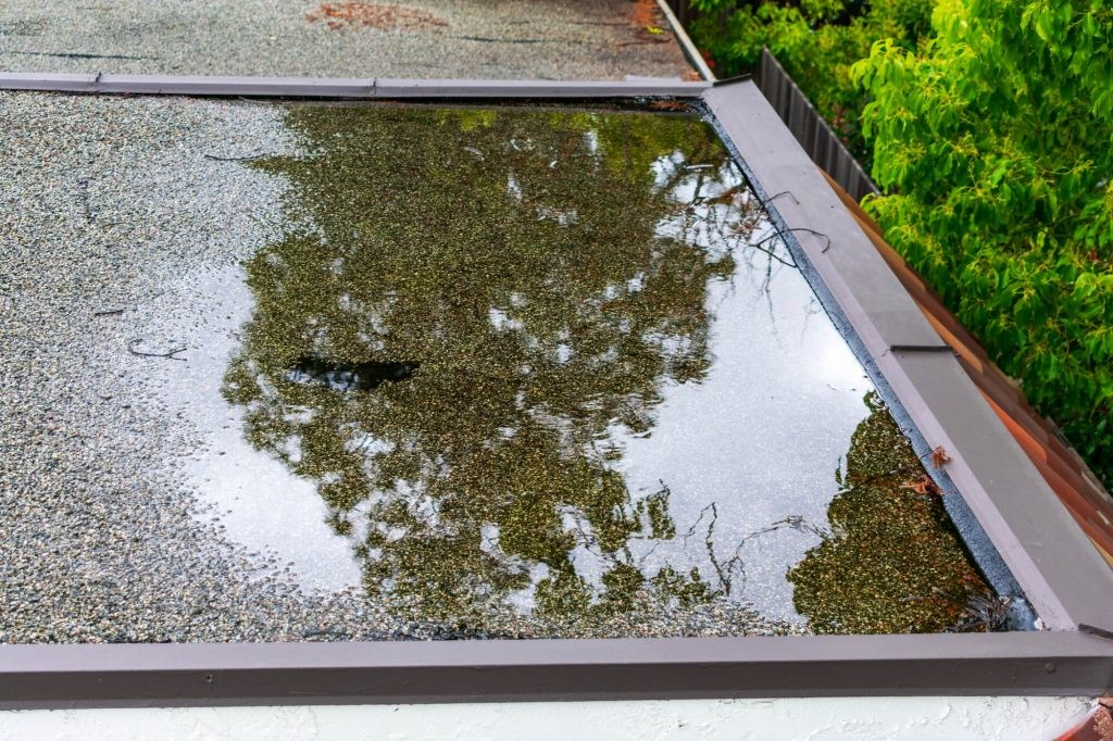 Commercial Flat Roof with Ponding Water